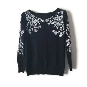Rain + Rose sweater embroidered angora black sz S